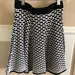 Intermix Black and White Fit and Flare Skirt